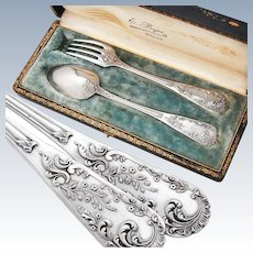 Boxed French Sterling Silver 2pc Flatware Set - Rococo design