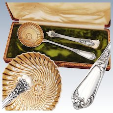 French Sterling Silver & Vermeil Dessert Set - Sugar Sifter & Tongs - Rococo decor