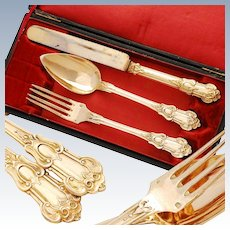 Antique French Silver & Vermeil 3pc Flatware Set - Louis Philippe era
