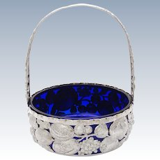 French Solid Silver Fruit Basket with Cobalt Blue Inlay, ca. 1810