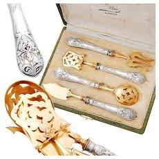 Boxed .800 Silver 4pc Hors d'Oeuvre Serving Set - Art Nouveau pattern