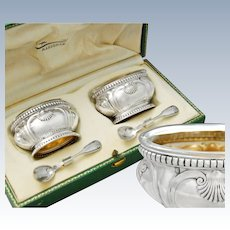 Puiforcat: Boxed French Sterling Silver & Vermeil Salt Cellars & Spoons Set