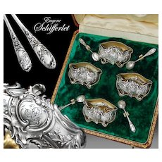 Boxed Antique French Sterling silver Salt Cellars and Spoons - Rococo pattern