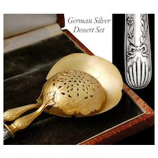 Boxed German Solid Silver 2pc Dessert Set - Sugar sifter & Cream spoon