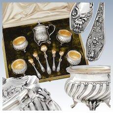 Doutre Roussel: Sterling Silver & Vermeil Salt Cellars, Mustard Pot & Salt Spoons - Mascarons!