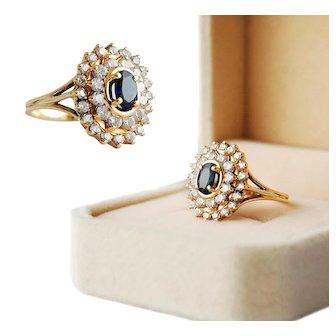 French 18K Gold Sapphire & Diamond Ring