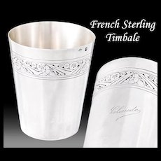 French Sterling Silver Art Deco Timbale, Wine Cup