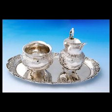 German Repousse .800 Silver 3pc Milk & Sugar Set with Tray