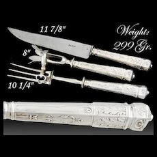 Boxed French Silver 3pc Meat Carving Set with Gigot - Paris, ca.1910