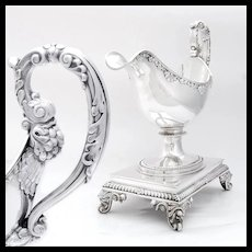 Antique (1819-38) French Sterling Silver Gravy Sauce Boat & Stand