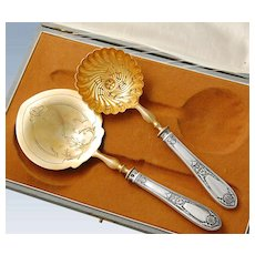 Boxed French Sterling Silver 2pc Dessert Set - Empire Style