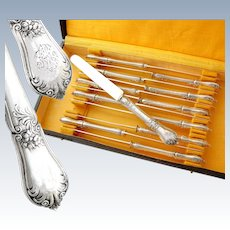 Boxed French Sterling Silver Dessert 12pc Knife Set