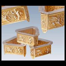 Boxed Antique German Silver & Vermeil Condiment Set - Hercules frieze