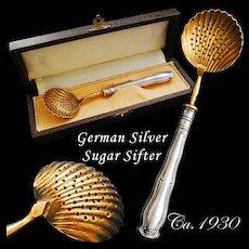 Boxed German Hallmarked .800 Solid Silver Sugar Sifter - Ca.1930