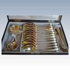 French Silver & Vermeil 15pc Tea Service Set - Original Box & Brass Inlays