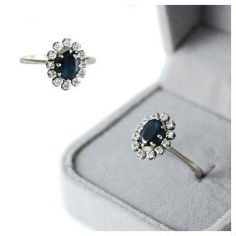 White Gold Sapphire - Diamond Halo Ring 18K