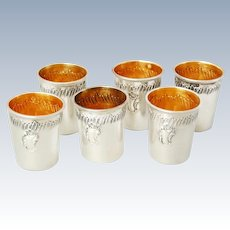 French Sterling Silver & Vermeil Liqueur Cups - Rococo decor