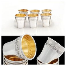 French Sterling Silver & Vermeil Liqueur Cups - Ch. Barrier