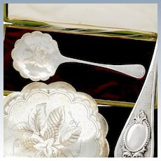 Boxed French Sterling Silver Strawberry, Cream Spoon