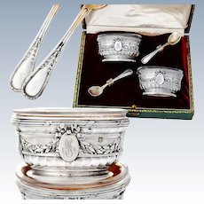 Puiforcat: French Sterling Silver & Vermeil Salt Cellars and Spoons