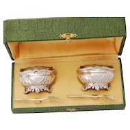 Boxed French Sterling Silver Salt Cellars and Salt Spoons - Classical decor