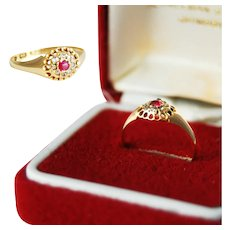 English 18 Carat Gold Ruby and Diamonds Ring