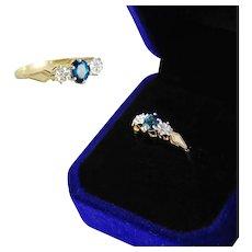 English 9K Sapphire Gold Ring