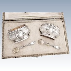 Boxed French Sterling Silver & Vermeil Salt Cellars and Spoons
