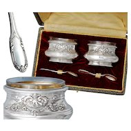 Boxed French Sterling Silver Salt Cellars and Salt Spoons
