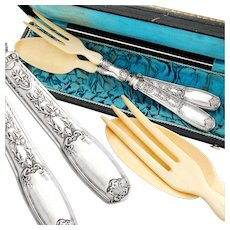 Boxed French Sterling Silver 2pc Salad Server Set - Red Tag Sale Item