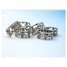 Vintage German .835 Silver Pierced Napkin Rings with Rose design