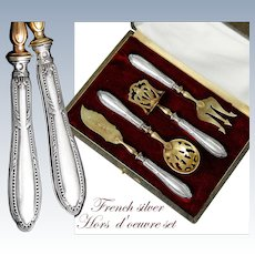 French Sterling Silver 4pc Hors d'Oeuvre Set with Classical design