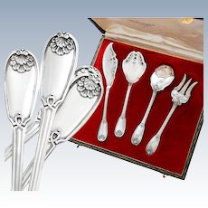 Boxed French Sterling Silver 4pc Hors d'Oeuvre Set