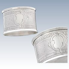 French Guilloche Sterling Silver Napkin Ring