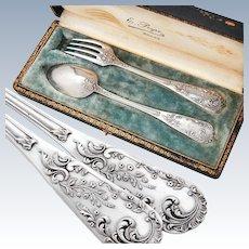 Boxed French Sterling Silver 2pc Flatware Set - Rococo design