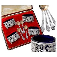 Boivin: Boxed French Sterling Silver Open Salt Cellars & Spoons - Rococo Style