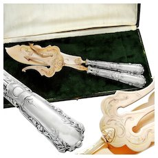 Boxed French Sterling Silver 2pc Fish Server Set