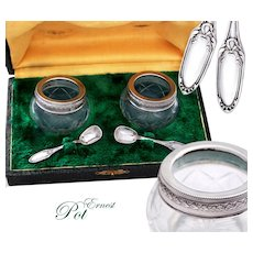 Boxed French Sterling Silver and Cut Crystal Open Salt Cellars & Spoons