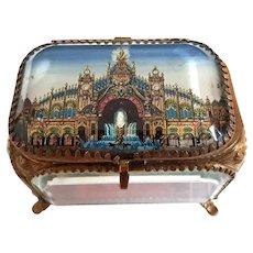 Antique French 'Grand Tour' Gilt & Beveled Glass Jewel or Souvenir Casket, Box