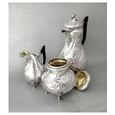 German Silver 3pc Coffee Set - Hanau Silver