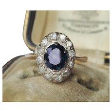 18K Karat Gold Platinum Sapphire Diamond Ring