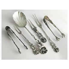 German Silver Cream Spoon, Forks and Two Pairs of Sugar Tongs