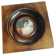 Antique French Portrait Miniature, Mme Recamier