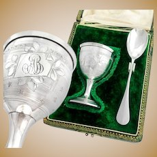Boxed French Sterling Silver Egg Cup & Spoon