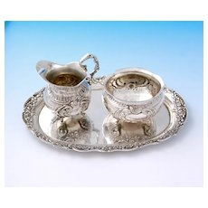 German .800 Silver Sugar Bowl, Milk Jug and Tray with Rococo Decor