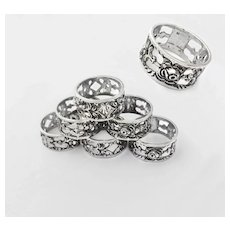 German .835 Silver Napkin Rings with Rose decoration