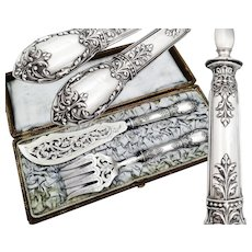 Set of Six German .800 Silver Coffee or Mocha Spoons with Rose decoration