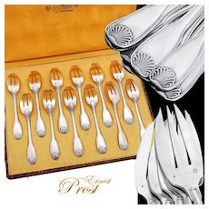 Prost: French Sterling Silver 12pc Dessert Fork Set - Shell pattern
