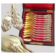 French Louis Philippe era Silver & Vermeil 12pc Spoon Set - Brass Inlaid Box