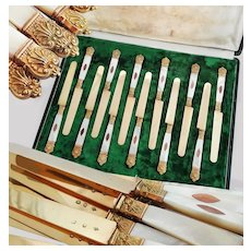 Boxed French Silver & Mother of Pearl 12pc Dessert Knife Set, 1819-1838